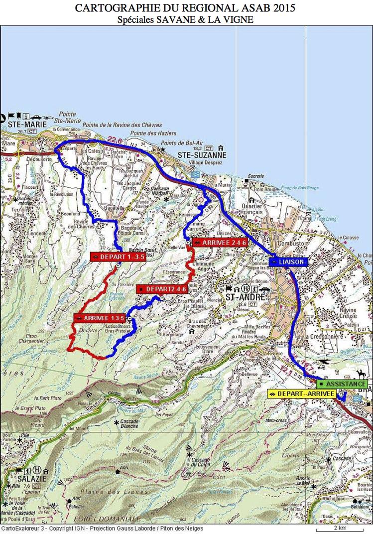 Carte du Rallye Régional ASA-B