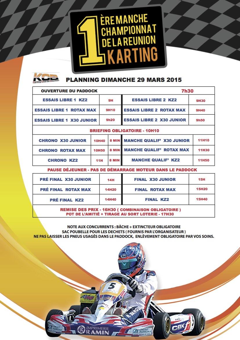 Programme 29 Mars Karting 974 KCB